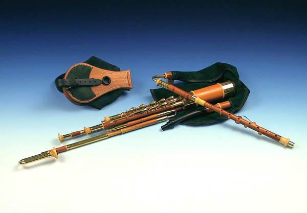 3/4 Set Uilleann Pipes in C, Zwetschge: Großansicht