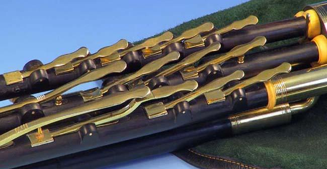 Full Set Uilleann Pipes in Cis, 'Coyne', regulator keys: Großansicht